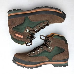 Timberland work boots, soft toe, ankle support, 9